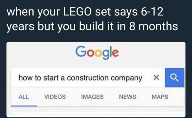 Funny meme about legos, Twitter