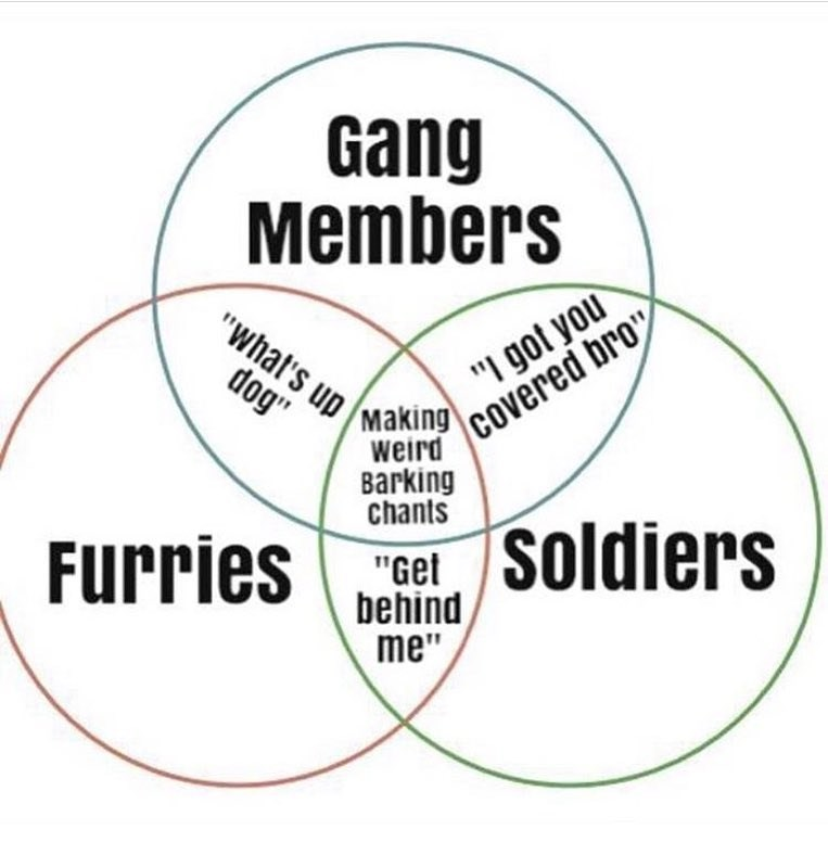 funny venn diagram meme about barking chants.