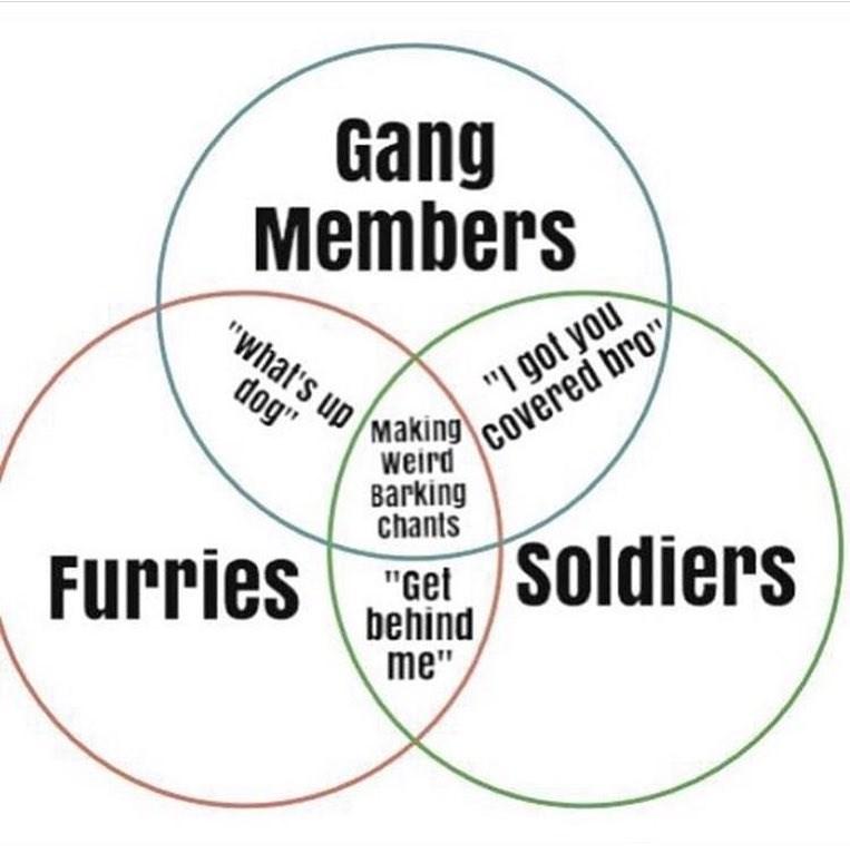 funny venn diagram meme about barking chants.