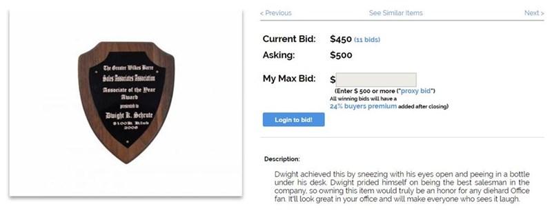 Screenshot of the auction got Dwight's Sales Associates Association Award 2008