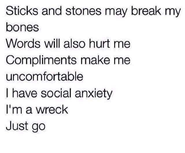 meme - Text - Sticks and stones may break my bones Words will also hurt me Compliments make me uncomfortable I have social anxiety I'm a wreck Just go