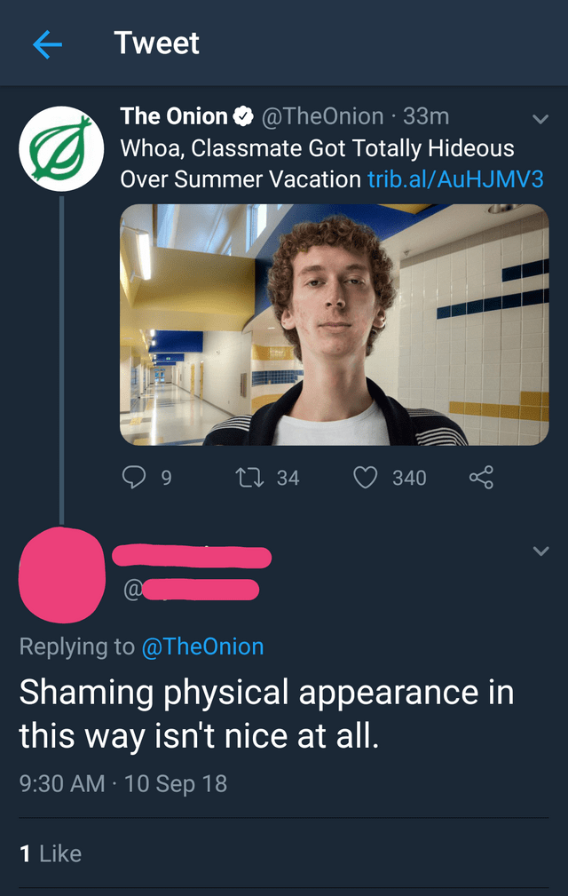 Product - Tweet The Onion@TheOnion 33m Whoa, Classmate Got Totally Hideous Over Summer Vacation trib.al/Au HJ MV3 ti 34 340 Replying to @TheOnion Shaming physical appearance in this way isn't nice at all. 9:30 AM 10 Sep 18 1 Like