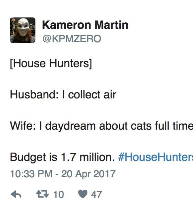 meme about couples on show house hunters having surprisingly high budgets