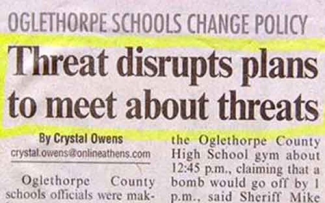 Text - OGLETHORPE SCHOOLS CHANGE POLICY Threat disrupts plans to meet about threats By Crystal Owens crystal.owens@onlineathens.com the Oglethorpe County High School gym about 12:45 p.m., claiming that a Oglethorpe County bomb would go off by I schools officials were mak- p.m., said Sheriff Mike