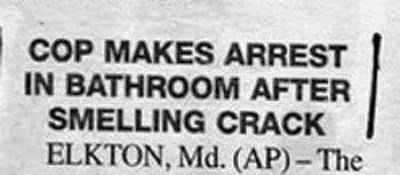 Text - COP MAKES ARREST IN BATHROOM AFTER SMELLING CRACK ELKTON, Md. (AP)-The