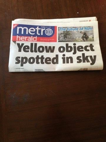 Text - metro herald The future of ilm Yellow object spotted in sky