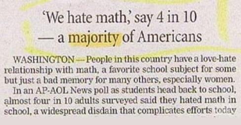 Text - We hate math, say 4 in 10 majority of Americans WASHINGTON -People in this country have a love-hate relationship with math, a favorite school subject for some but just a bad memory for many others, especially women In an AP-AOL News poll as students head back to school, almost four in 10 adults surveyed said they hated math in school, a widespread disdain that complicates efforts today