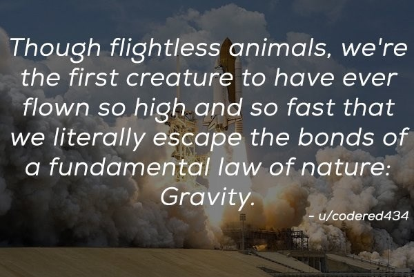 Text - Though flightless animals, we're the first creature to have ever high and so fast that we literally escape the bonds of fundamental law of nature: flown so Gravity. - u/codered434