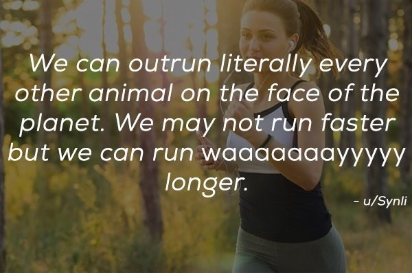 Nature - We can outrun literally every other animal on the face of the planet. We may not run faster but we can run waaaaaaayyyyy longer. -u/Synli