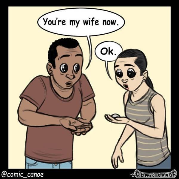Cartoon - You're my wife now. Ok. COMFC CANOE @comic_canoe