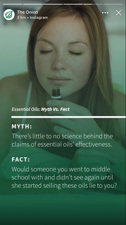 meme about getting sold essential oils by someone you haven't spoken to in years
