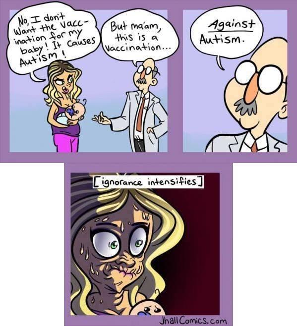 anti vaxxers meme comic about ignorant parent refusing vaccine against autism