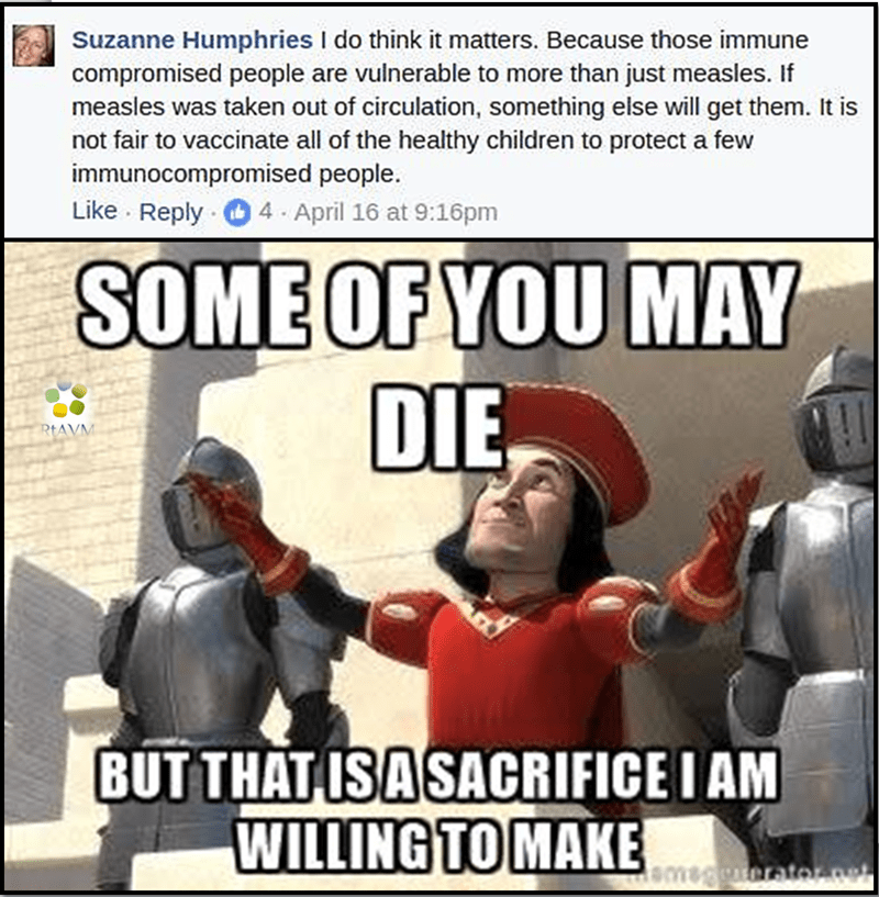 """anti vaxxer Facebook comment about immune compromised people with picture of Lord Farquaad saying """"some of you may die but that is a sacrifice I am willing to make"""""""