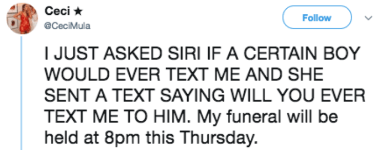 Text - Ceci Follow @CeciMula JUST ASKED SIRI IF A CERTAIN BOY WOULD EVER TEXT ME AND SHE SENT A TEXT SAYING WILL YOU EVER TEXT ME TO HIM. My funeral will be held at 8pm this Thursday.