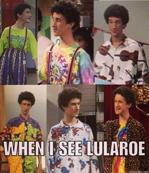 meme post lularoe while wearing six different patterned shirts