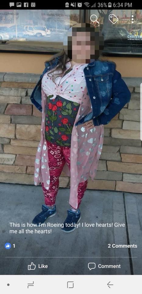 image post of a woman wearing lularoe from head to toe and all the clothing patterns are hearts