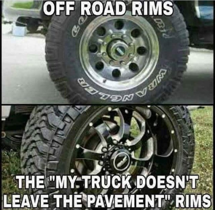 "Tire - WRANGL THE""MY TRUCK DOESN'T LEAVE THE PAVEMENT"" RIMS"