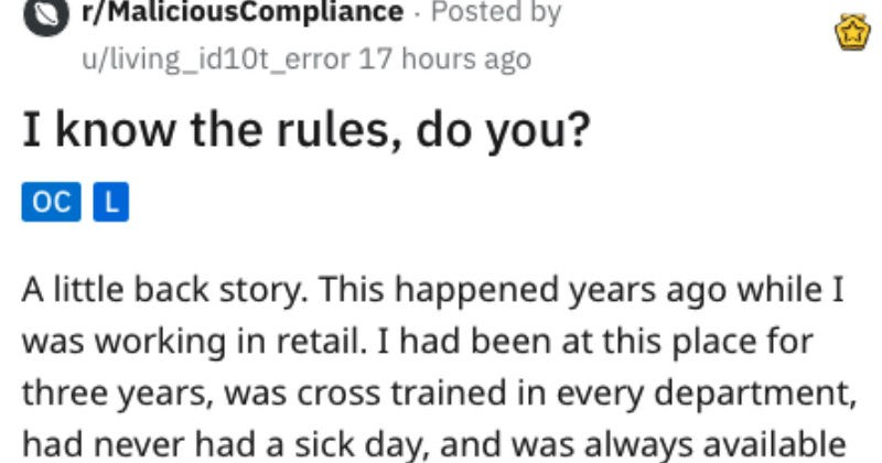 Retail employee breaks his foot, boss won't let him have a stool, so employee uses union rules to explain why he needs chair.
