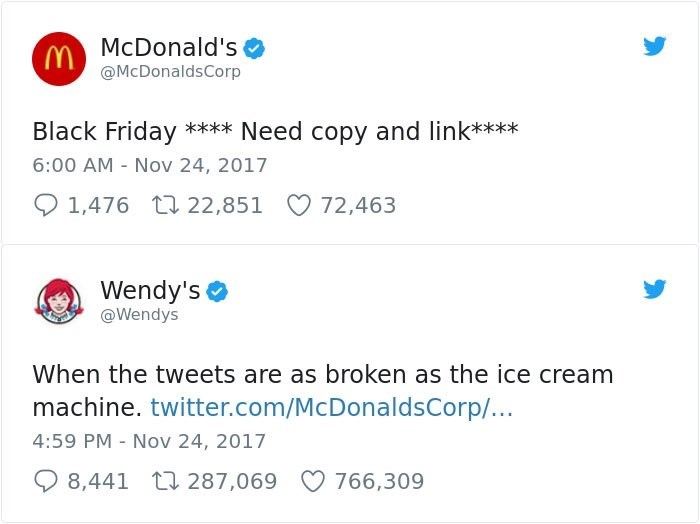 Text - McDonald's (Y@McDonaldsCorp Black Friday **** Need copy and link*** 6:00 AM Nov 24, 2017 1,476 t22,851 72,463 Wendy's @Wendys When the tweets are as broken as the ice cream machine. twitter.com/McDonaldsCorp/... 4:59 PM Nov 24, 2017 8,441 t287,069 766,309