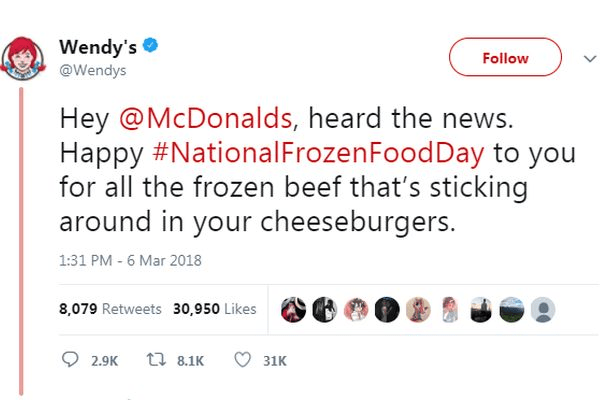 Text - Wendy's @Wendys Follow Hey @McDonalds, heard the news. Happy #NationalFrozenFoodDay to you for all the frozen beef that's sticking around in your cheeseburgers. 1:31 PM 6 Mar 2018 8,079 Retweets 30,950 Likes t 8.1K 2.9K 31K