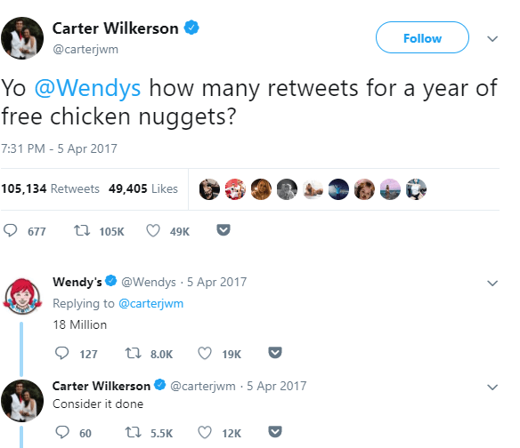Text - Carter Wilkerson Follow @carterjwm Yo @Wendys how many retweets for a year of free chicken nuggets? 7:31 PM - 5 Apr 2017 105,134 Retweets 49,405 Likes t 105K 677 49K Wendy's @Wendys 5 Apr 2017 Replying to @carterjwm 18 Million 127 ti8.0K 19K @carterjwm 5 Apr 2017 Carter Wilkerson Consider it done ti 5.5K 60 12K