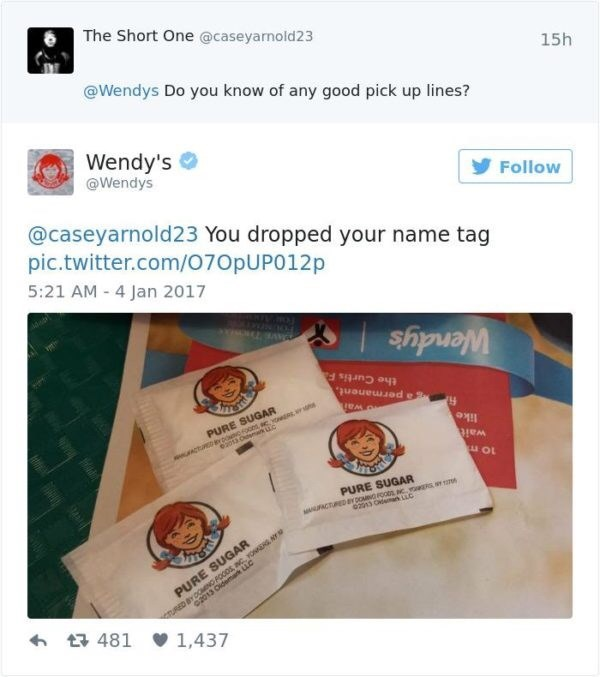 Product - The Short One @caseyarnold23 @Wendys Do you know of any good pick up lines? Wendy's @Wendys 15h @caseyarnold23 You dropped your name tag pic.twitter.com/070pUP012p 5:21 AM - 4 Jan 2017 Follow RESTH PURE SUGAR ACT YDONOOs, cyowt e2013 O w uc the Curtis F Wendy's a permanent, like wait PURE SUGAR wACTURED aY OMNG FOOD c a PURE SUGAR emark LLC URED BY DOOMING FOODS INC YONERE Y c2013 t481 1,437