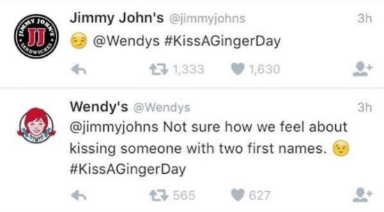 Text - Jimmy John's @jimmyjohns 3h @Wendys #KissAGingerDay OWICE 1,333 1,630 Wendy's @Wendys 3h @jimmyjohns Not sure how we feel about kissing someone with two first names. #KissAGingerDay 565 627 ONA w