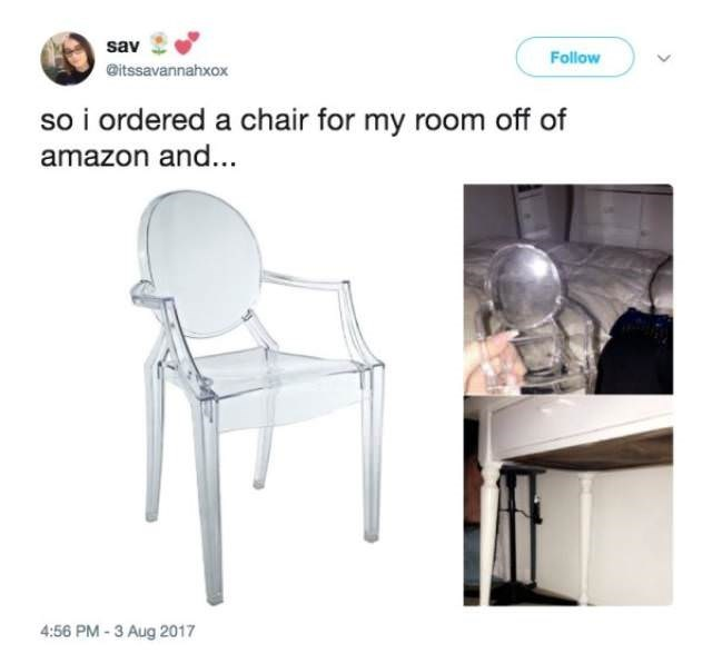 Chair - sav Follow @itssavannahxox so i ordered a chair for my room off of amazon and... 4:56 PM-3 Aug 2017