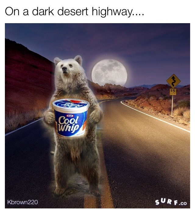 Snout - On a dark desert highway.... 15 Crats Cool Whip SURF.co Kbrown220
