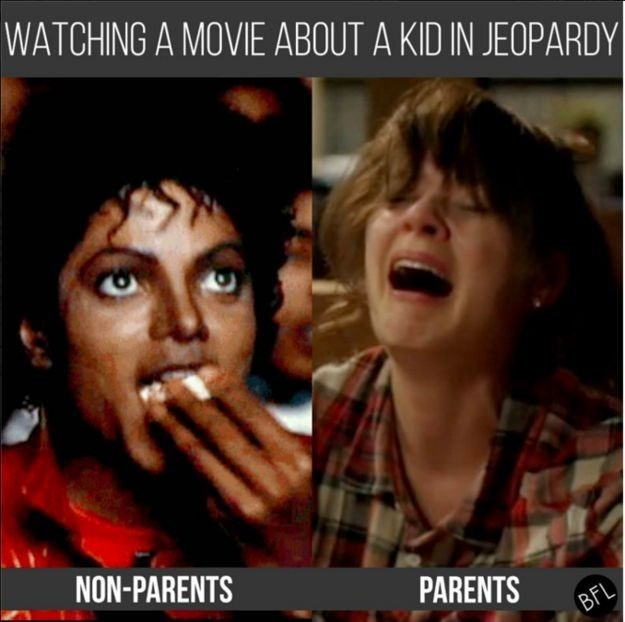 Photo caption - WATCHING A MOVIE ABOUT A KID IN JEOPARDY NON-PARENTS PARENTS BFL