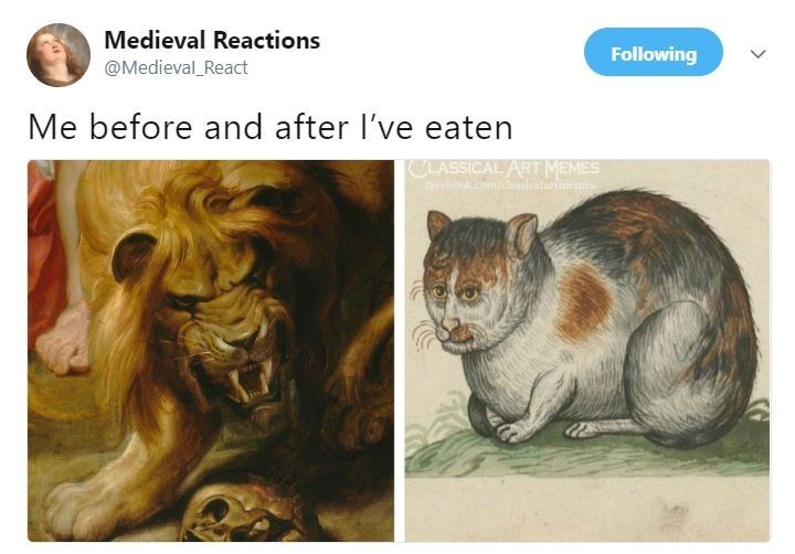 "Caption that reads, ""Me before and after I've eaten"" above a painting of an angry lion on the left and a fat satisfied cat on the right"