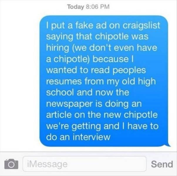 work meme about scorned high schooler pretending to open a chipotle