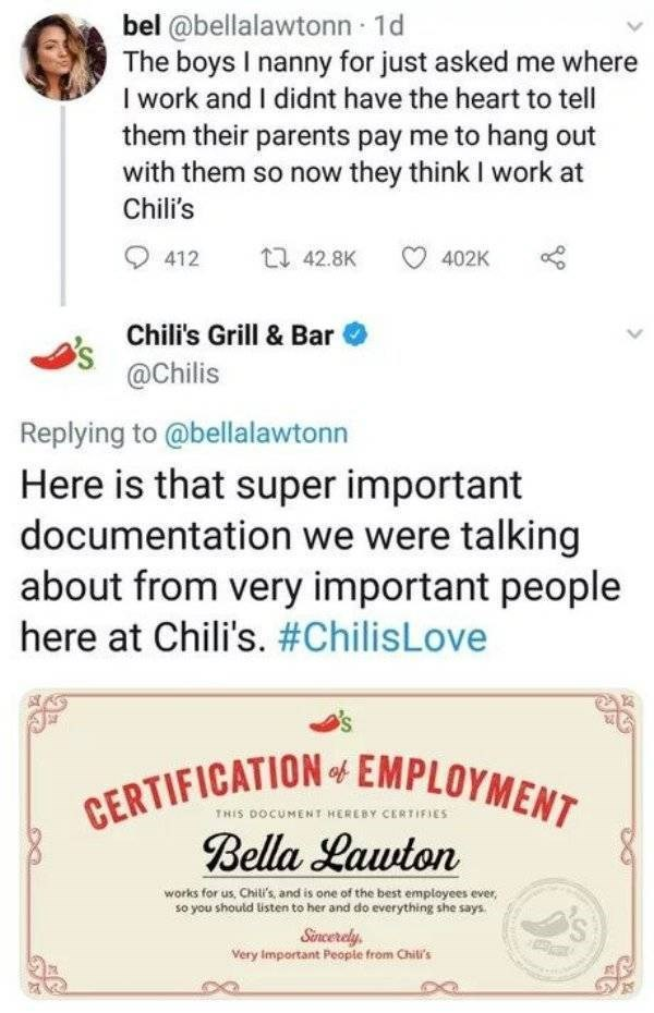 work meme about Chili's pretending to hire a nanny