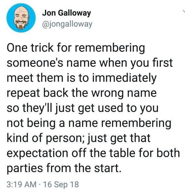 work meme about not remembering names