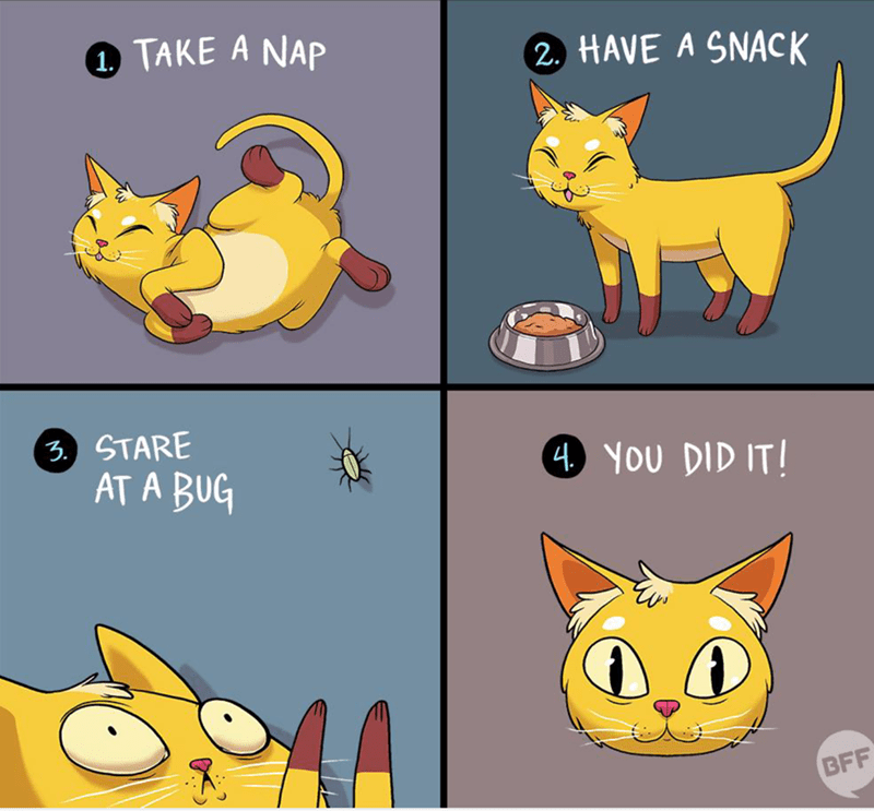 Cartoon - TAKE A NAP 2. HAVE A SNACK 3.) STARE AT A BUG 4 YOU DID IT! BFF