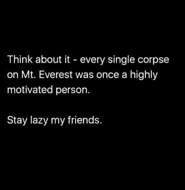 Text - Think about it every single corpse on Mt. Everest was once a highly motivated person. Stay lazy my friends.