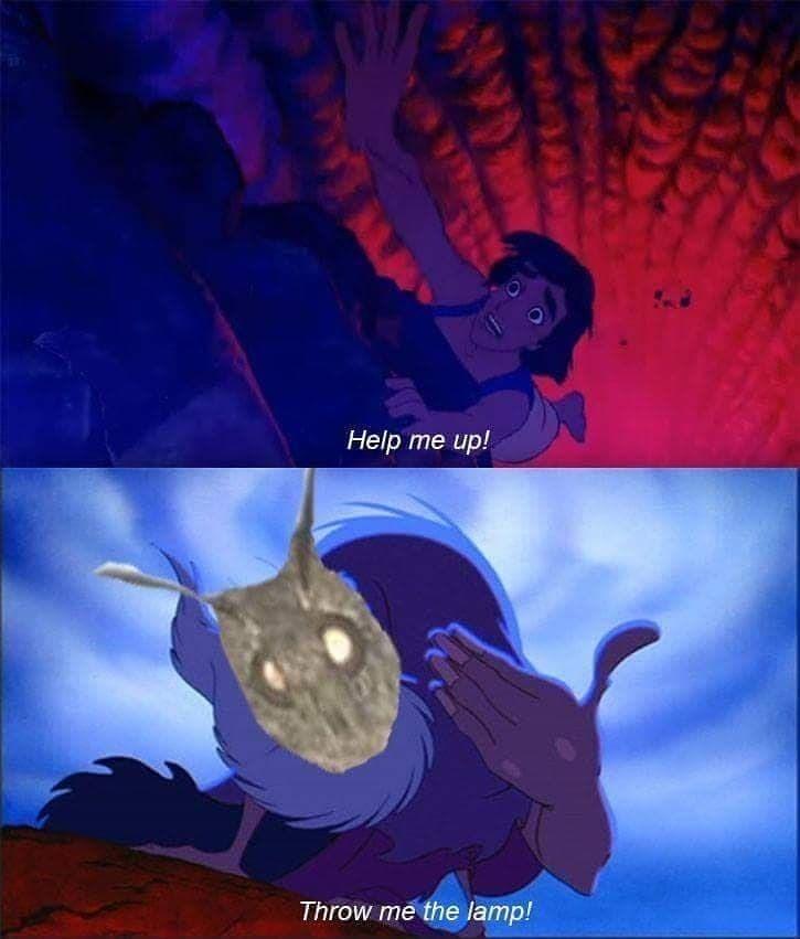 Cartoon - Help me up! Throw me the lamp!