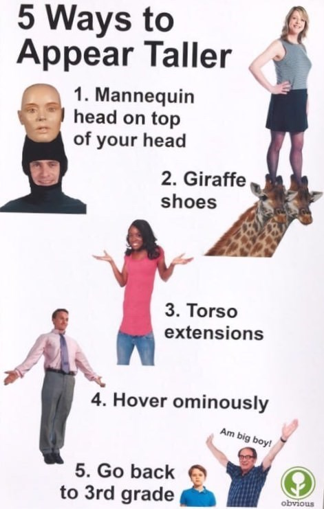 Joint - 5 Ways to Appear Taller 1. Mannequin head on top of your head 2. Giraffe shoes 3. Torso extensions 4. Hover ominously Am big boy! 5. Go back to 3rd grade obvious