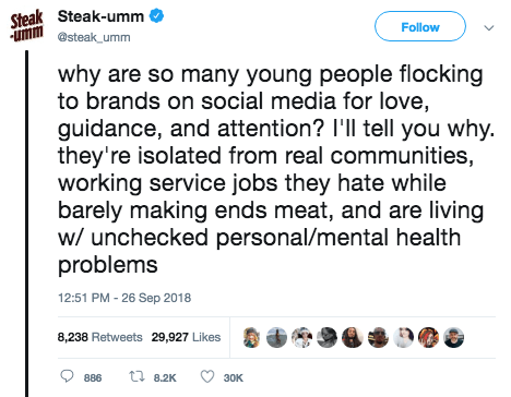 Text - Steak Steak-umm ummsteak umm Follow why are so many young people flocking to brands on social media for love, guidance, and attention? I'll tell you why. they're isolated from real communities, working service jobs they hate while barely making ends meat, and are living w/ unchecked personal/mental health problems 12:51 PM -26 Sep 2018 8,238 Retweets 29,927 Likes t 82K 886 30K