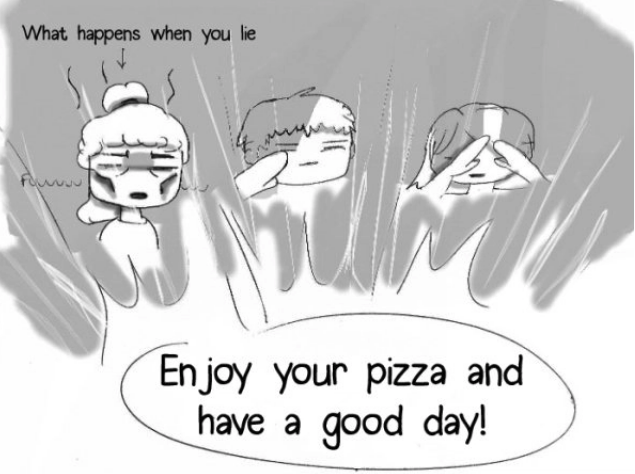 Text - What happens when you lie FOUnc En joy your pizza and have a good day!