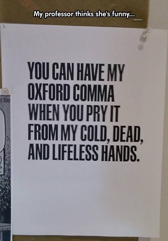 "Caption that reads, ""My professor thinks she's funny"" above a sign that reads, ""You can have my Oxford comma when you pry it from my cold, dead, and lifeless hands"""
