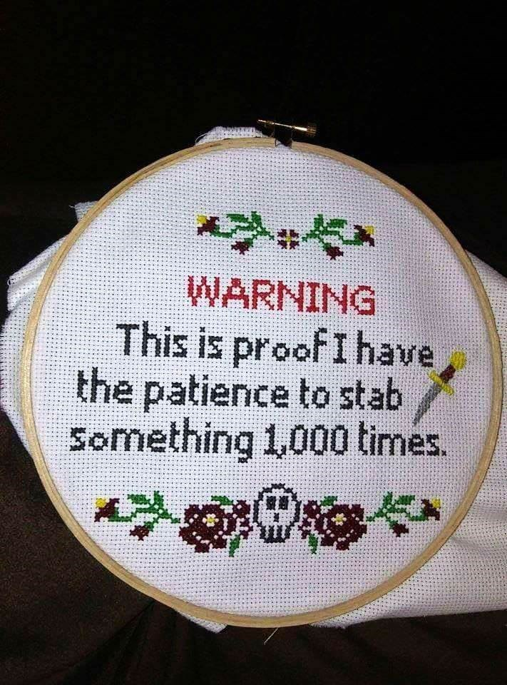 Needlework - WARNING This is proof I have the patience to stab P Something 1,000 times.