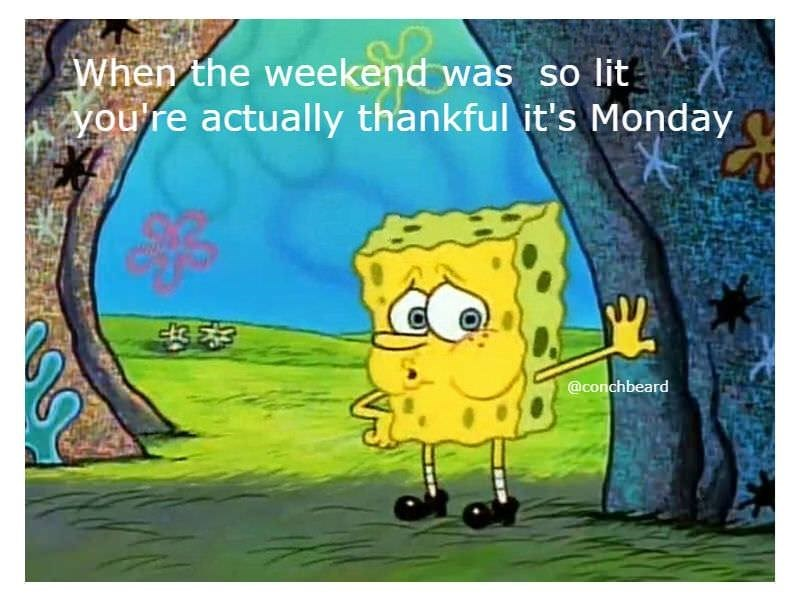 Cartoon - When the weekend was so lit! you're actually thankful it's Monday @conchbeard