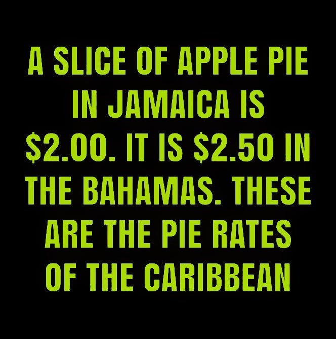 Text - A SLICE OF APPLE PIE IN JAMAICA IS $2.00. IT IS $2.50 IN THE BAHAMAS. THESE ARE THE PIE RATES OF THE CARIBBEAN
