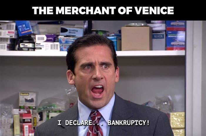 """'The Merchant of Venice' depicted as Michael Scott saying """"I declare...bankruptcy!"""""""