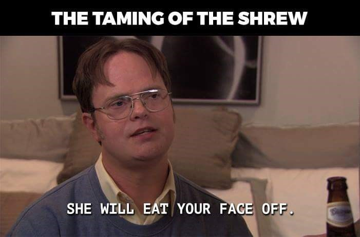 "'The Taming of the Shrew' depicted as Dwight Schrute saying, ""She will eat your face off"""