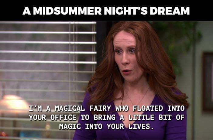 Photo caption - A MIDSUMMER NIGHT'S DREAM I'M A MAGIGAL FAIRY WHO FLOATED INTO YOUR OFFIGE TO BRING A LITTLE BIT OF MAGIC INTO YOUR LIVES