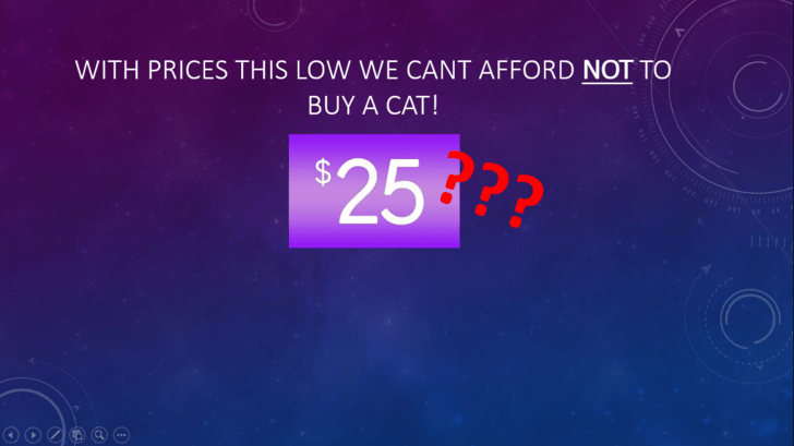 Text - WITH PRICES THIS LOW WE CANT AFFORD NOT TO BUY A CAT! $25 2?