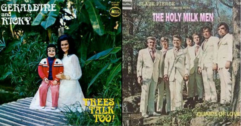 Creepy, strange, funny and weird vintage album covers.