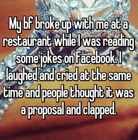 Text - My bf brokeup withmeat a restaurant whie lwas reading Somejok ebook es onFac laughed and cried at the same ime and peaple thought it was a proposal and clapped